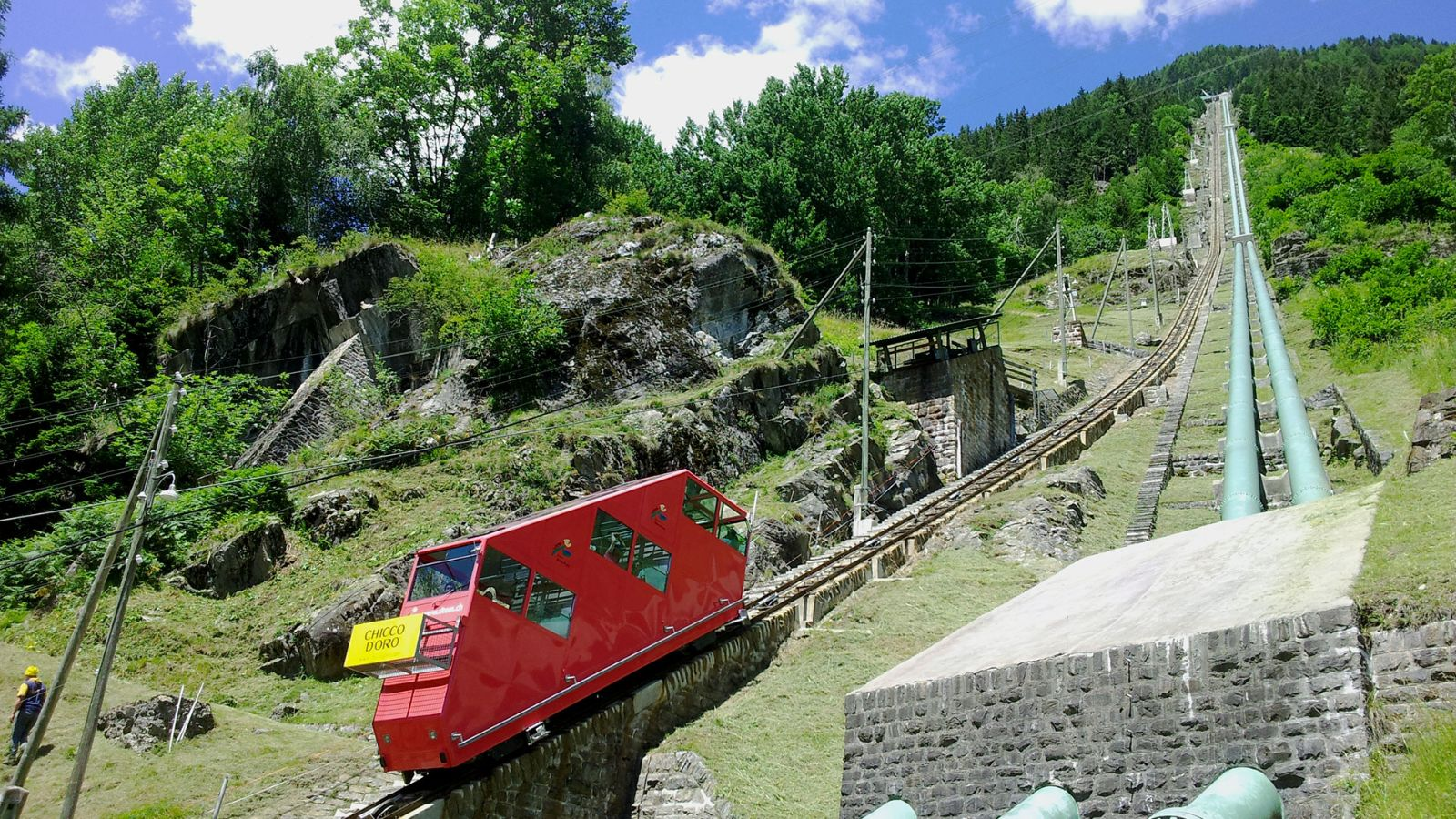 How steep the Ritom funicular is!